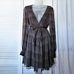 Betsy Johnson brown tan blue sheer mini dress 10